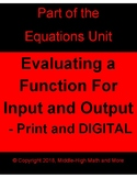 Evaluating a Function for Input and Output - Printable and