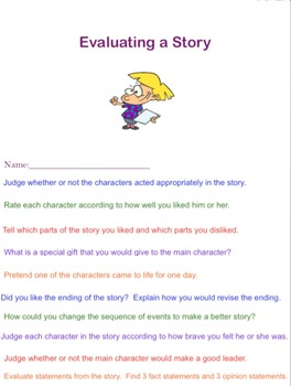 Bloom's Higher Level Thinking Flip Book Evaluating a Story
