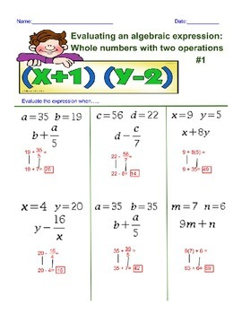 Evaluating an Algebra Expression with 2 Operations