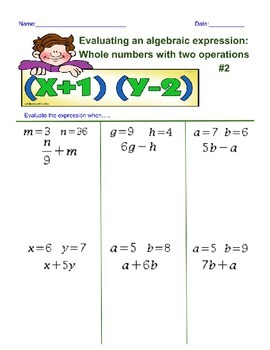 Evaluating an Algebra Expression with 2 Operations 2nd Worksheet