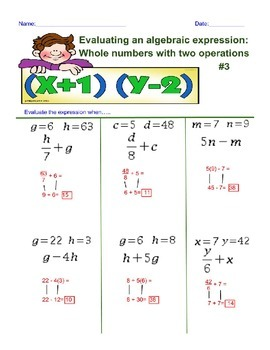 Evaluating an Algebra Expression with 2 Operations 3rd Worksheet