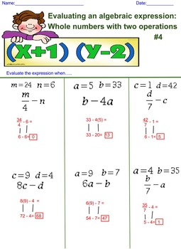 Evaluating an Algebra Expression with 2 Operations 4th Worksheet