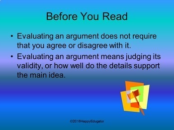 Earth Day Activity - Evaluating an Argument -  Supports Common Core!