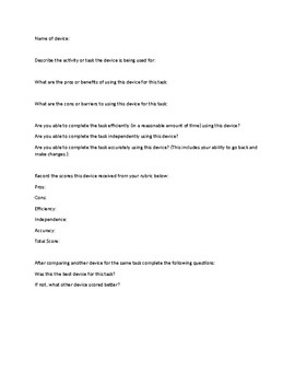 Evaluating an Assistive Device Worksheet