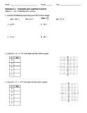 Evaluating and Graphing Homework
