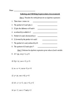 Evaluating and Writing Expressions Test