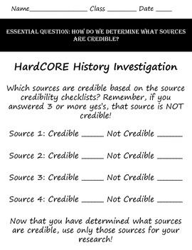 Evaluating the Credibility of Sources Packet