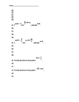 Evaluating the Six Trigonometric Functions Quiz