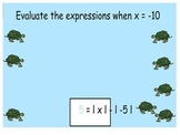 Evaluating with absolute value smartboard game
