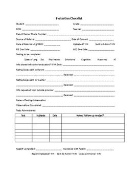 Evaluation Checklist