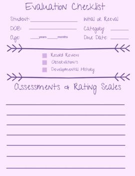 Evaluation Checklist/Tracker