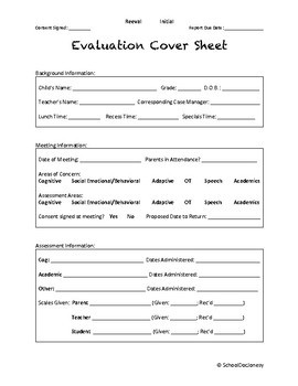 Evaluation Cover Sheet