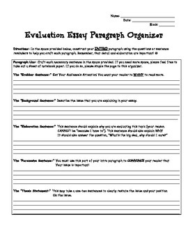 Evaluation Essay Writing Pack