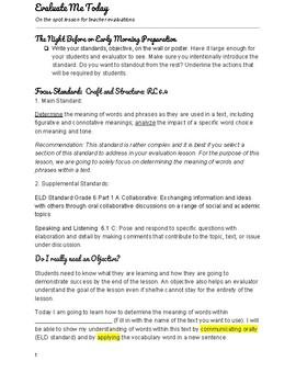 Evaluation Lesson RL 6.4-8.4