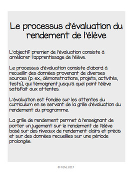 Evaluation: The achievement chart: verbs to use, Teacher Resource: FRENCH