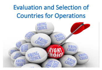 Evaluation and Selection of Countries for Operations (International Business)