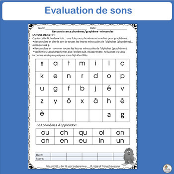 FREE! French: Evaluation – des 36 sons fondamentaux