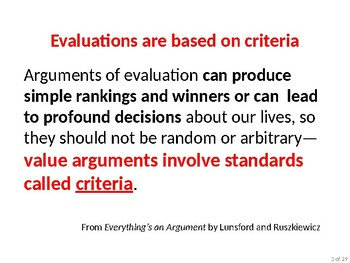 Evaluation essays: supporting claims with criteria, evidence, and reasoning