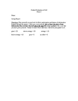 Evaluation forms for student group work