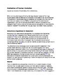 Scientific Critique of Human Evolution - A Common Core Activity