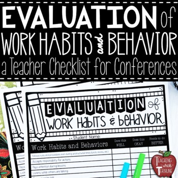 Evaluation of Work Habits and Behavior Checklist for Parents | TpT