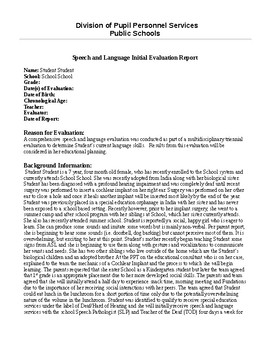 Speech Therapy Report- Cochlear Implant Student, Non-Verbal Report Template
