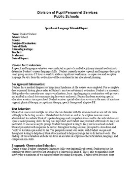 Speech Therapy-Non verbal student report
