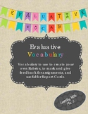 Evaluative Vocabulary-create your own rubric