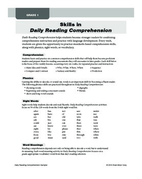 Daily Reading Comprehension Sample Lessons