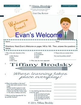 Evan's Welcome Comprehension Test for Reading Treasures grade 3 unit 1 story