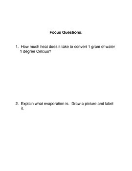 Evaporation Common Core Activity