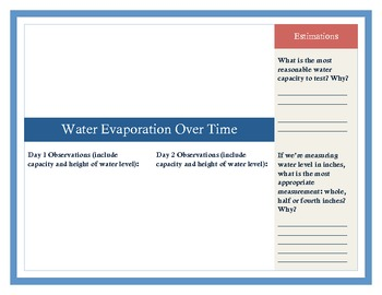 Evaporation and Measurement Student Booklet
