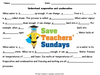 Evaporation and Condensation Plan, PowerPoint and Worksheets (online activity)