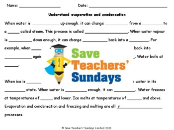Evaporation and condensation Plan, PowerPoint and Workshee