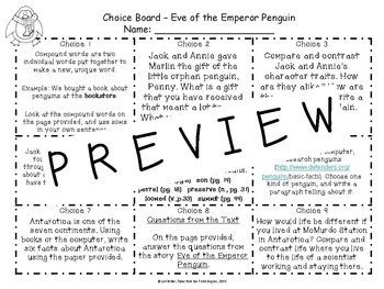 Magic Tree House Eve of the Emperor Penguin Reading and Writing Choice Board