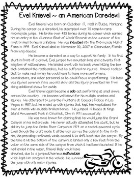 Evel Knievel: An American Daredevil ~ A Non-Fiction Reading Assessment Prompt