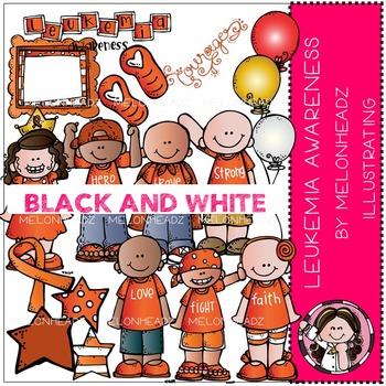 Leukemia Awareness clip art - BLACK AND WHITE- by Melonheadz