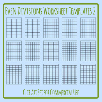 Even Divisions Worksheet Templates 2 Clip Art Set Commercial Use