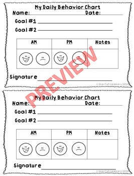Daily Behavior Charts - 5 New Tracking Sheets with Parent Signature