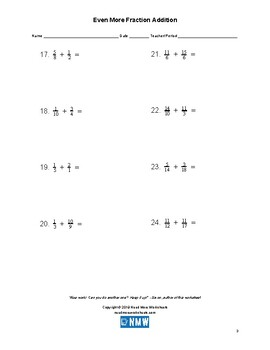 Even More Fraction Addition