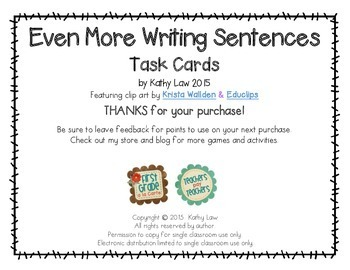 Even More Writing Sentences Task Cards