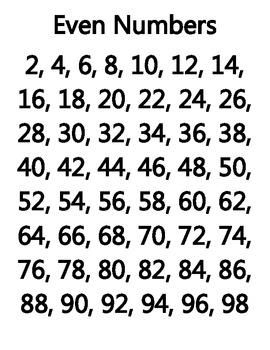 Even & Odd Numbers, Squared & Cubed Numbers, Directional Lines, Prime Numbers