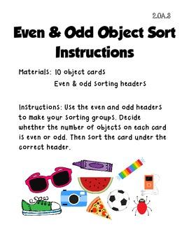 Even & Odd Object Sort (Common Core 2.OA.3)