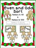 Even Odd Sorting Cards - Gingerbread Theme