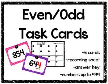 Even Odd Task Cards