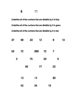 Even Odd and Divisible by Worksheet