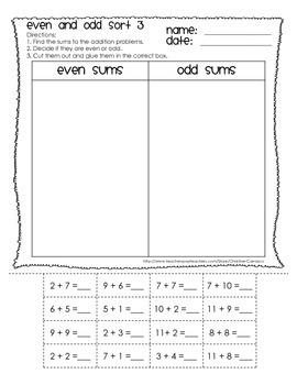 Even Or Odd Cut, Sort, & Glue