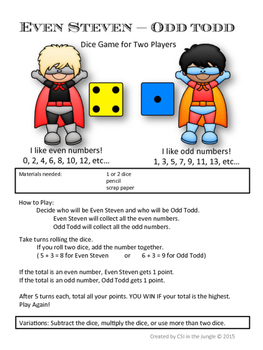 Even Steven and Odd Todd: Free Math Games