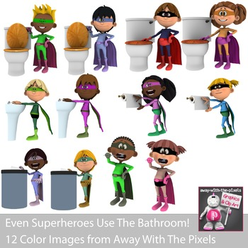 Even Superheroes Use The Bathroom - Superhero Bathroom Clip Art