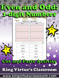 Even and Odd: 1-digit Numbers Cut and Paste Activity #2 - King Virtue